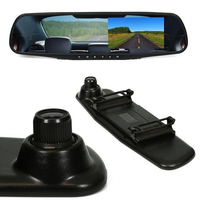 """LED21 Zpětné zrcálko s přední kamerou a LCD monitorem pro couvací kameru 4.3"""", 12V DC"""
